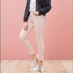 Stradivarius Light Pink Distressed Skinny Jean
